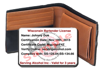 Serving Alcohol Wallet Card