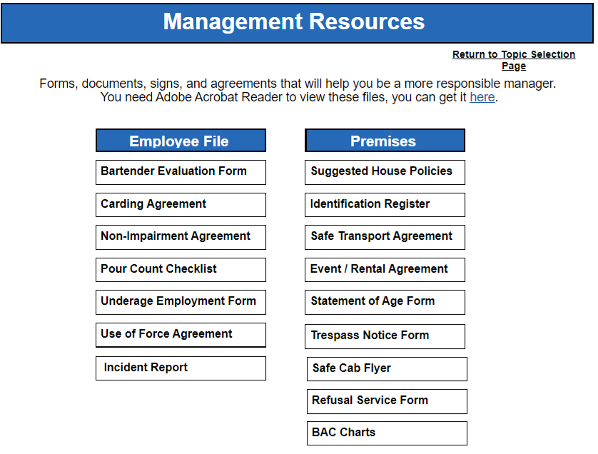 Responsible Alcohol Manager important forms from Serving Alcohol Inc.
