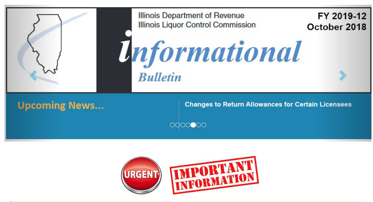 Illinois Department of Revenue Illinois Liquor Control Commission Update Information
