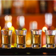 shots lined up on bar