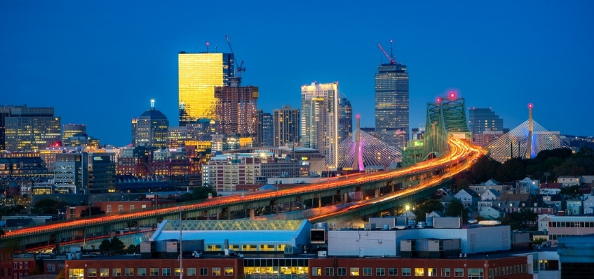 Boston bridge and city at night