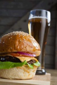 burger with glass of beer