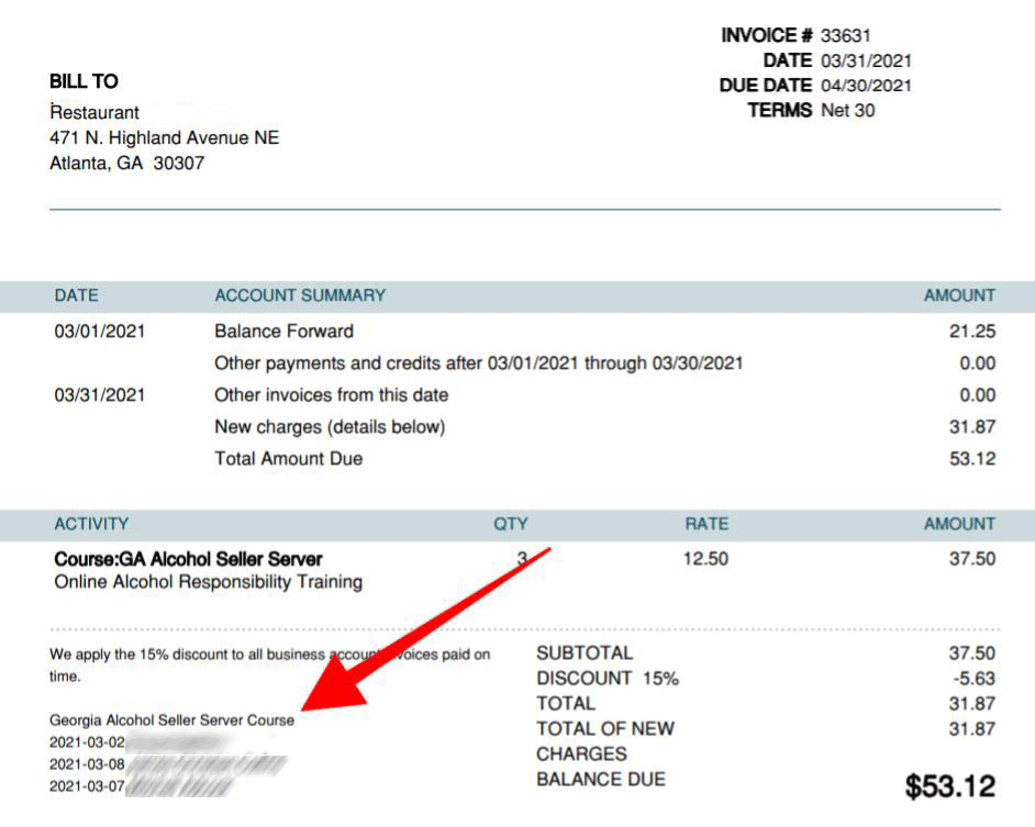 invoice from payment screen shows staff members